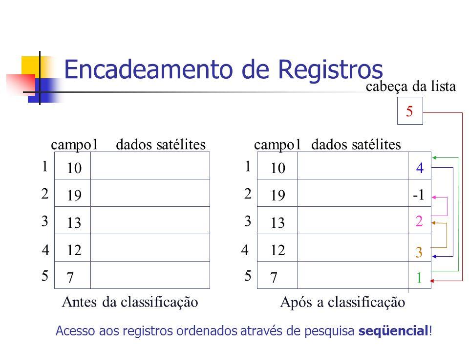 Encadeamento de Registros Acesso aos registros ordenados através de pesquisa seqüencial! 10 19 13 12 7 1 2 3 4 5 Antes da classificação campo1 dados s
