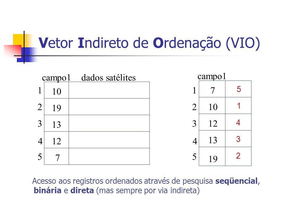 Vetor Indireto de Ordenação (VIO) 10 19 13 12 7 1 2 3 4 5 campo1 1 2 3 4 5 5 1 4 3 2 7 10 12 13 19 Acesso aos registros ordenados através de pesquisa