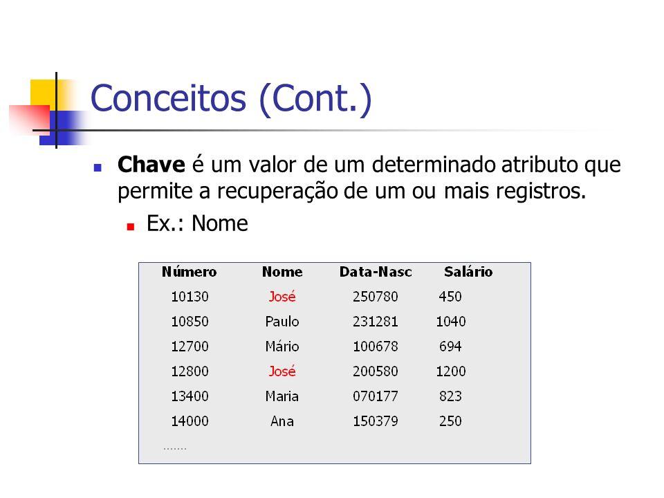 Conceitos (Cont.) Chave é um valor de um determinado atributo que permite a recuperação de um ou mais registros. Ex.: Nome