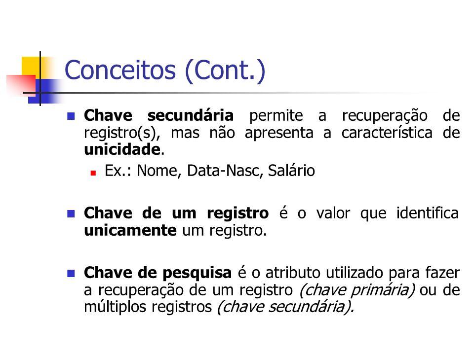 Conceitos (Cont.) Chave secundária permite a recuperação de registro(s), mas não apresenta a característica de unicidade. Ex.: Nome, Data-Nasc, Salári