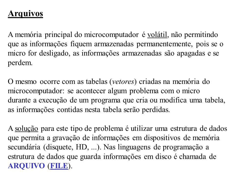Arquivos A memória principal do microcomputador é volátil, não permitindo que as informações fiquem armazenadas permanentemente, pois se o micro for d