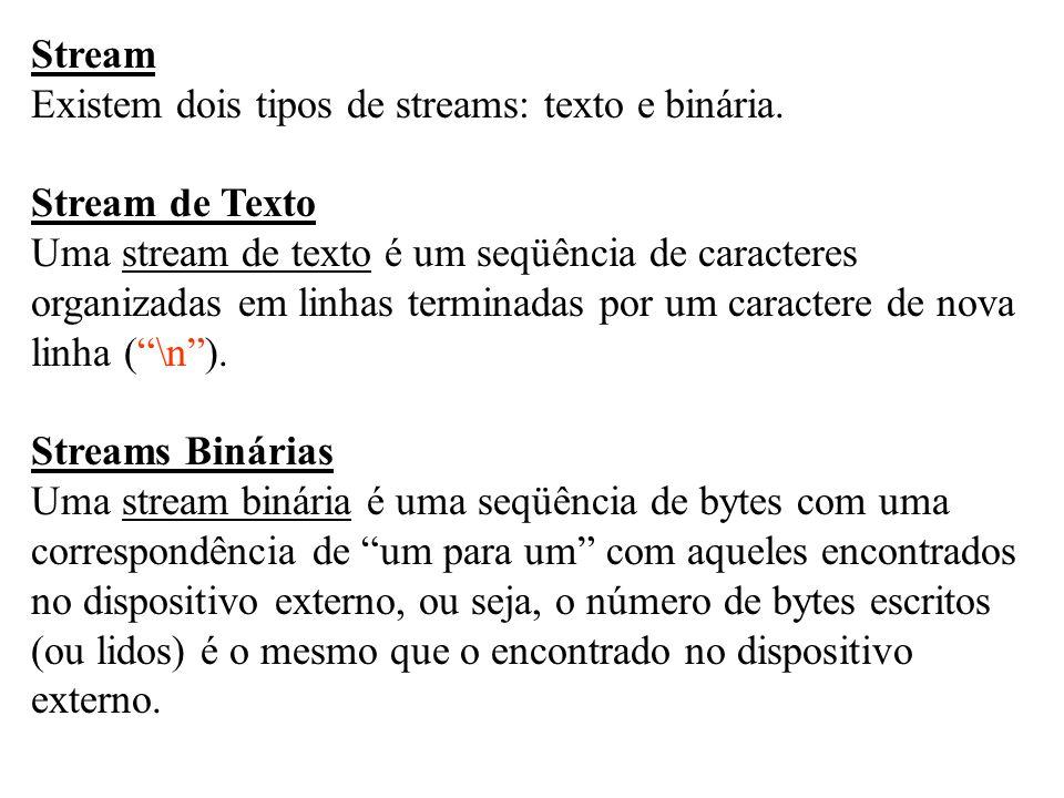 Stream Existem dois tipos de streams: texto e binária. Stream de Texto Uma stream de texto é um seqüência de caracteres organizadas em linhas terminad