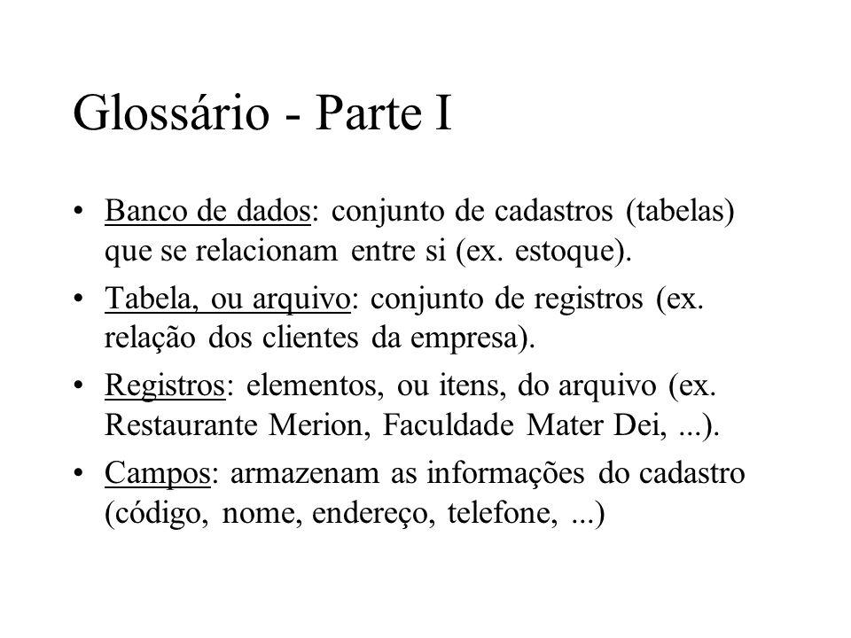 Glossário - Parte I Banco de dados: conjunto de cadastros (tabelas) que se relacionam entre si (ex. estoque). Tabela, ou arquivo: conjunto de registro
