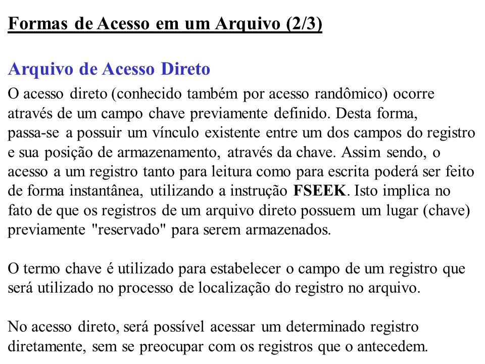 Formas de Acesso em um Arquivo (2/3) Arquivo de Acesso Direto O acesso direto (conhecido também por acesso randômico) ocorre através de um campo chave