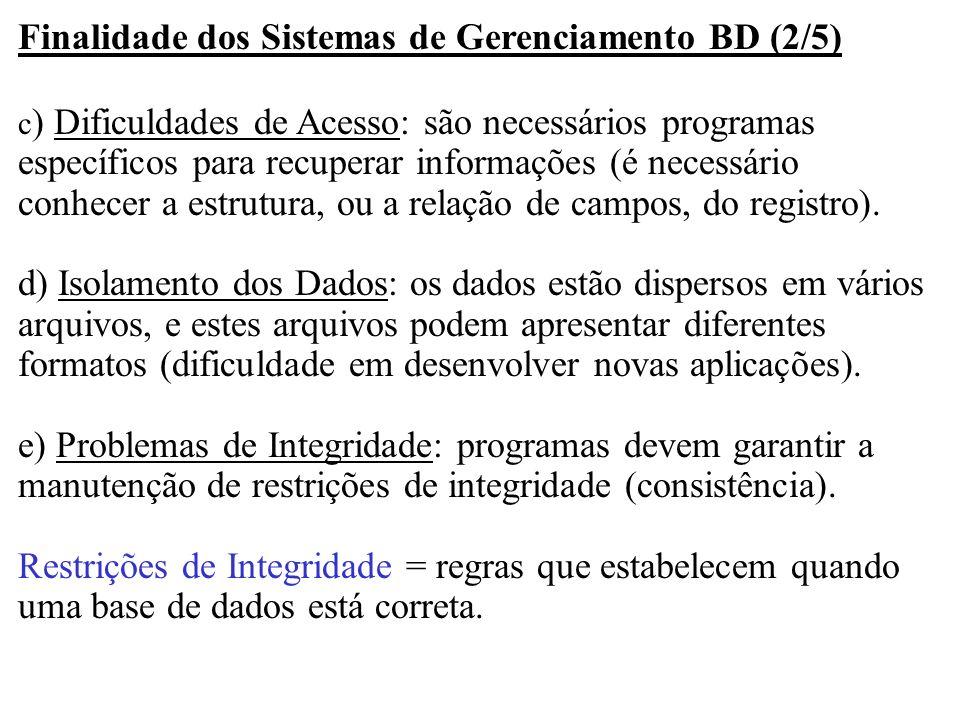 Finalidade dos Sistemas de Gerenciamento BD (2/5) c ) Dificuldades de Acesso: são necessários programas específicos para recuperar informações (é nece