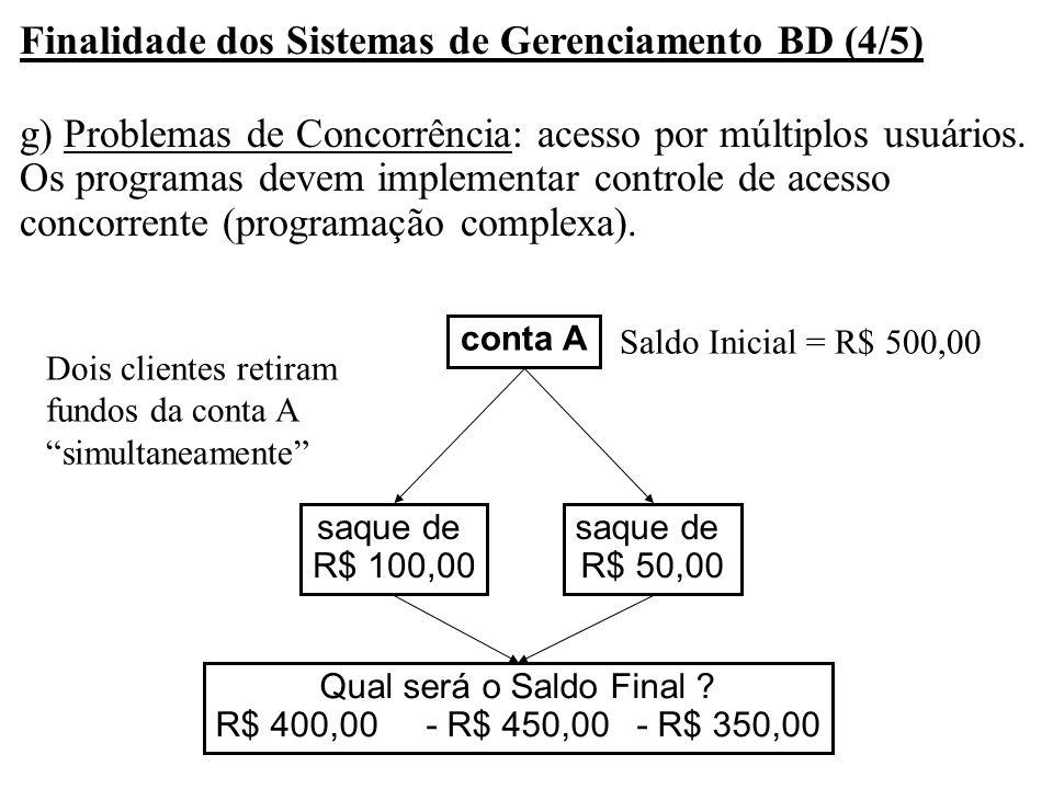 Finalidade dos Sistemas de Gerenciamento BD (4/5) g) Problemas de Concorrência: acesso por múltiplos usuários. Os programas devem implementar controle