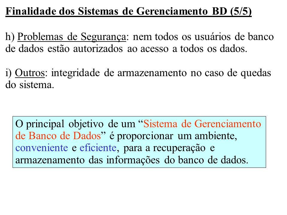 Finalidade dos Sistemas de Gerenciamento BD (5/5) h) Problemas de Segurança: nem todos os usuários de banco de dados estão autorizados ao acesso a tod
