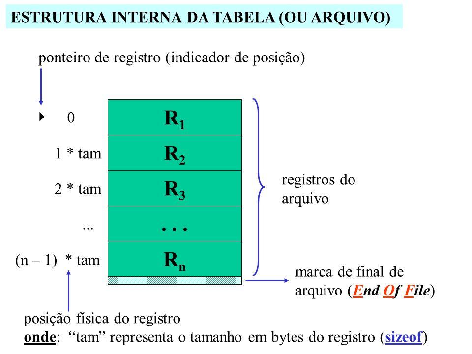RnRn 0 1 * tam 2 * tam... (n – 1) * tam registros do arquivo ponteiro de registro (indicador de posição) posição física do registro onde: tam represen