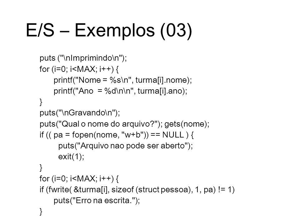 E/S – Exemplos (03) puts (