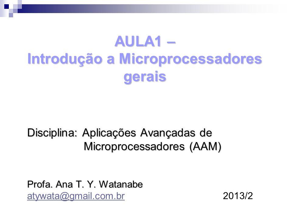 AULA1 – Introdução a Microprocessadores gerais Disciplina: Aplicações Avançadas de Microprocessadores (AAM) Microprocessadores (AAM) Profa. Ana T. Y.