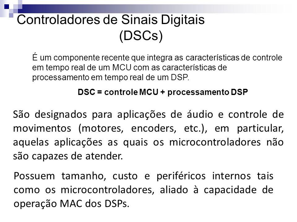 Controladores de Sinais Digitais (DSCs) É um componente recente que integra as características de controle em tempo real de um MCU com as característi