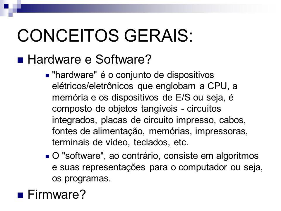 CONCEITOS GERAIS: Hardware e Software?