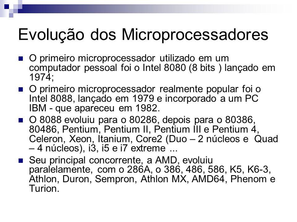 Evolução dos Microprocessadores O primeiro microprocessador utilizado em um computador pessoal foi o Intel 8080 (8 bits ) lançado em 1974; O primeiro