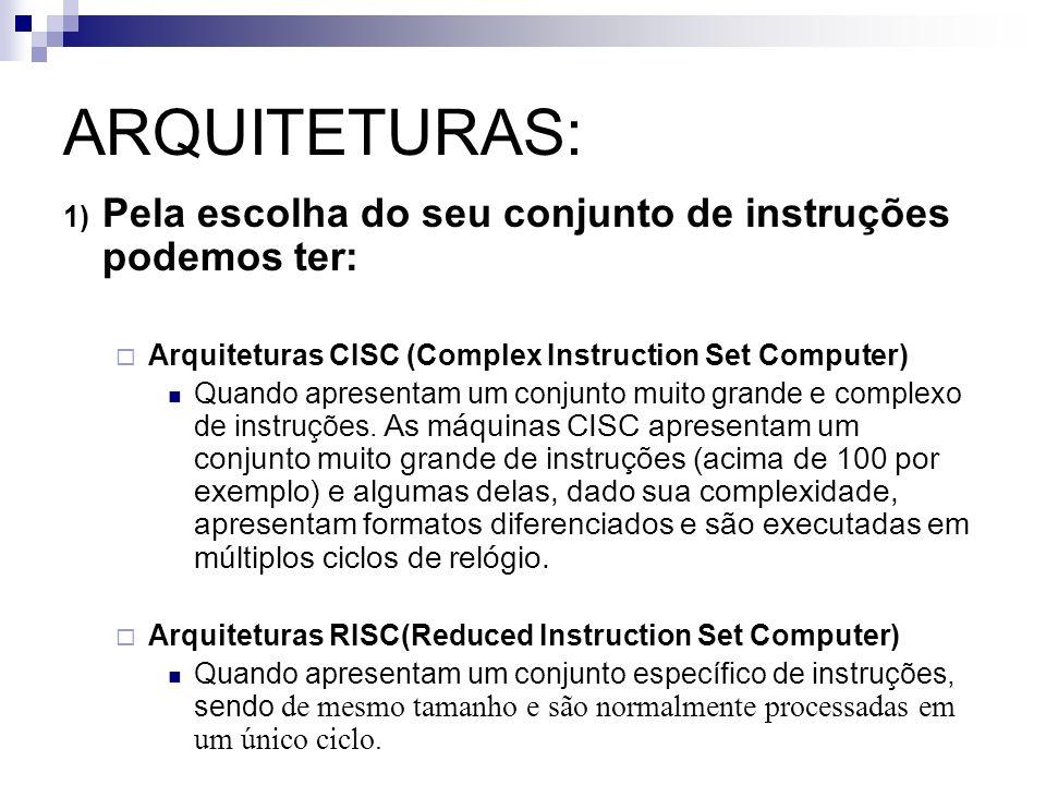 ARQUITETURAS: 1) Pela escolha do seu conjunto de instruções podemos ter: Arquiteturas CISC (Complex Instruction Set Computer) Quando apresentam um con