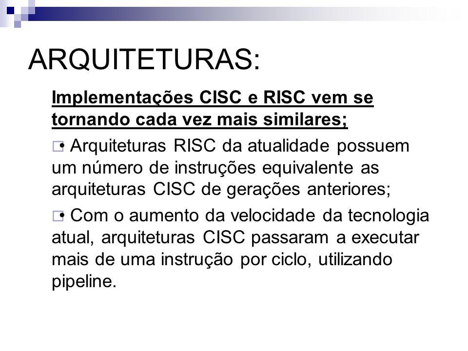ARQUITETURAS: Implementações CISC e RISC vem se tornando cada vez mais similares; Arquiteturas RISC da atualidade possuem um número de instruções equi