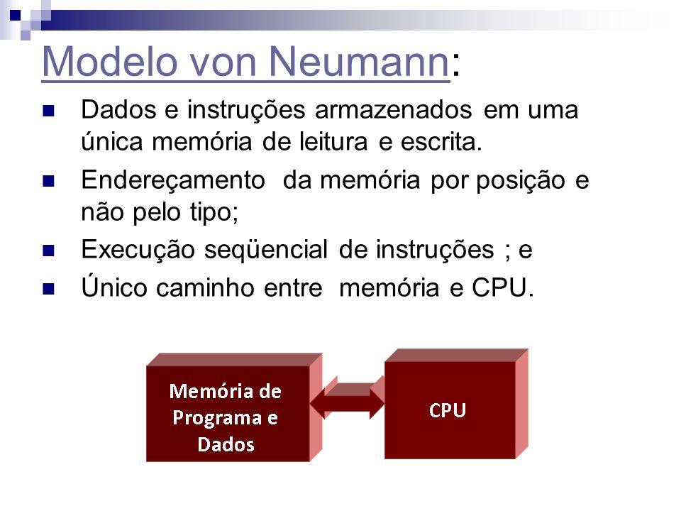 Modelo von NeumannModelo von Neumann: Dados e instruções armazenados em uma única memória de leitura e escrita. Endereçamento da memória por posição e