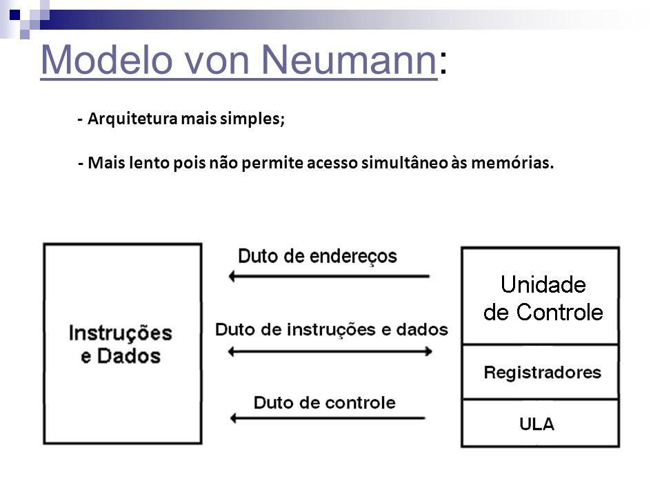 Modelo von NeumannModelo von Neumann: - Arquitetura mais simples; - Mais lento pois não permite acesso simultâneo às memórias.
