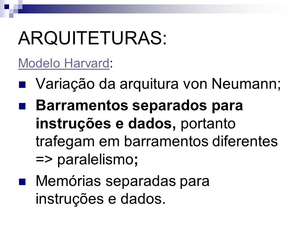 ARQUITETURAS: Modelo HarvardModelo Harvard: Variação da arquitura von Neumann; Barramentos separados para instruções e dados, portanto trafegam em bar
