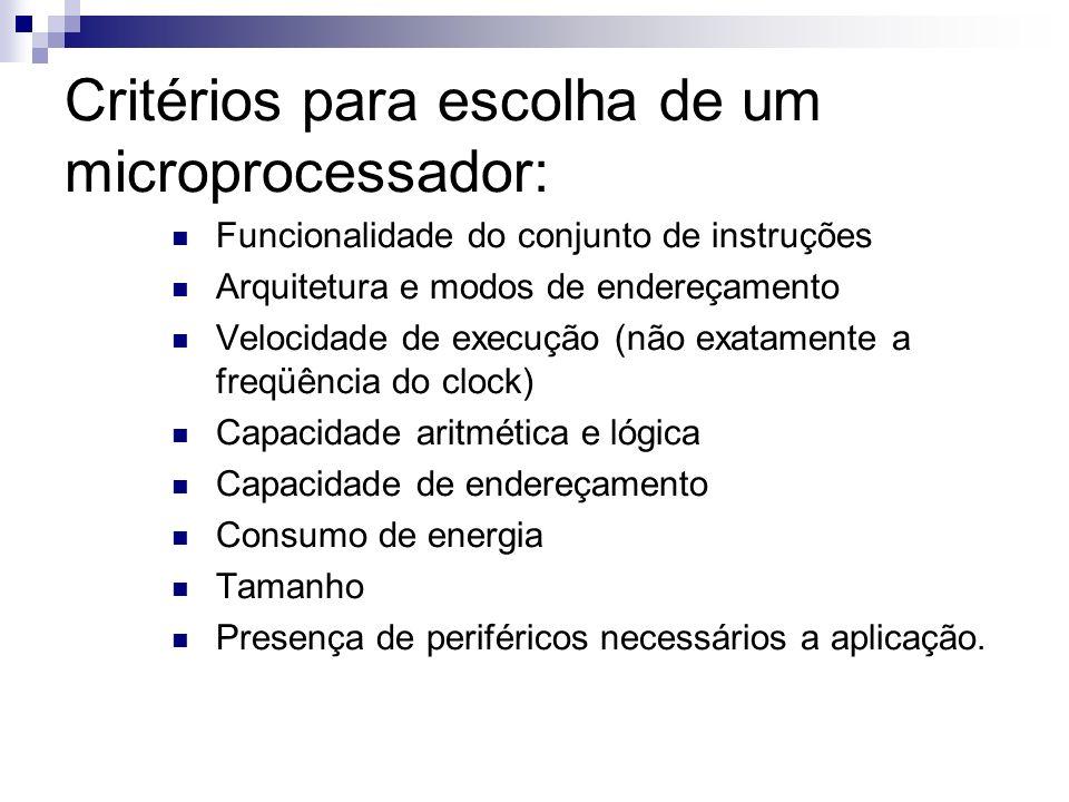 Critérios para escolha de um microprocessador: Funcionalidade do conjunto de instruções Arquitetura e modos de endereçamento Velocidade de execução (n