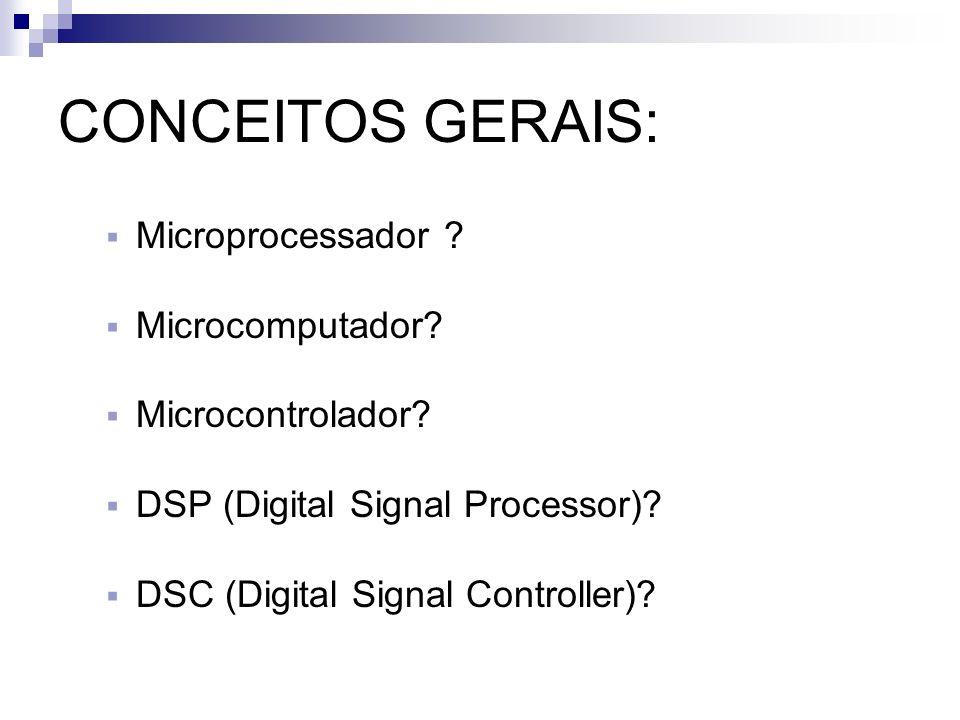 CONCEITOS GERAIS: Microprocessador ? Microcomputador? Microcontrolador? DSP (Digital Signal Processor)? DSC (Digital Signal Controller)?