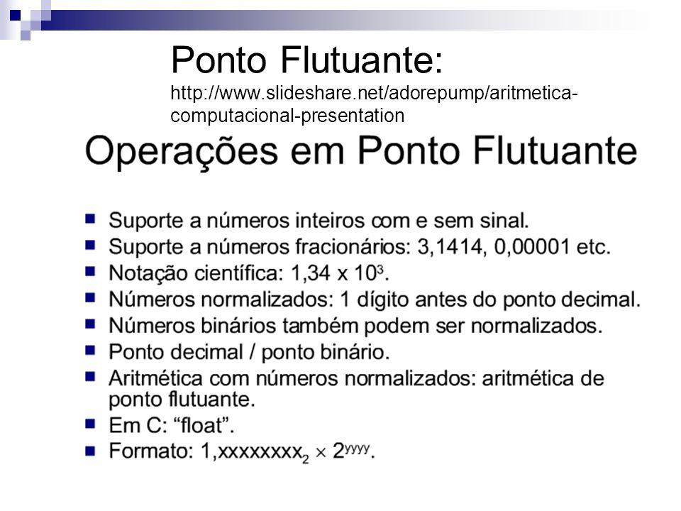 Ponto Flutuante: http://www.slideshare.net/adorepump/aritmetica- computacional-presentation