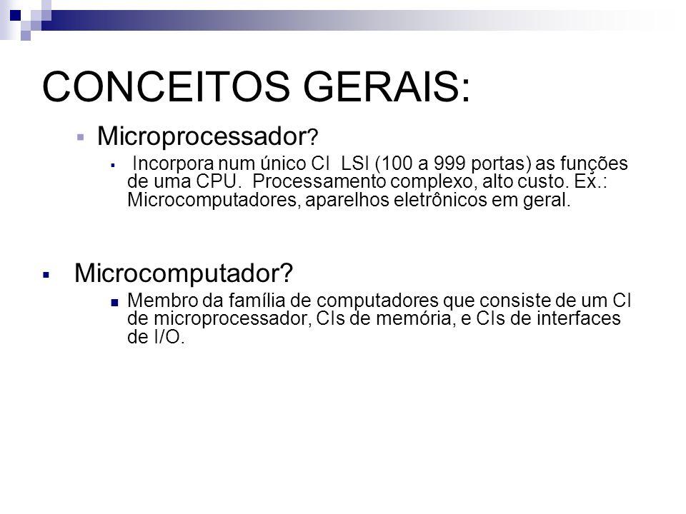 CONCEITOS GERAIS: Microprocessador ? Incorpora num único CI LSI (100 a 999 portas) as funções de uma CPU. Processamento complexo, alto custo. Ex.: Mic