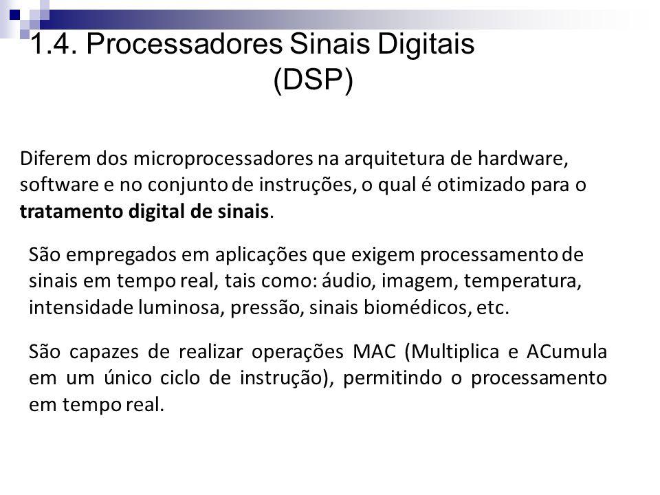 CONCEITOS GERAIS: Principais características dos DSPs: Processadores para tratamento de dados em ponto fixo ou flutuante Arquitetura otimizada para computação intensiva.