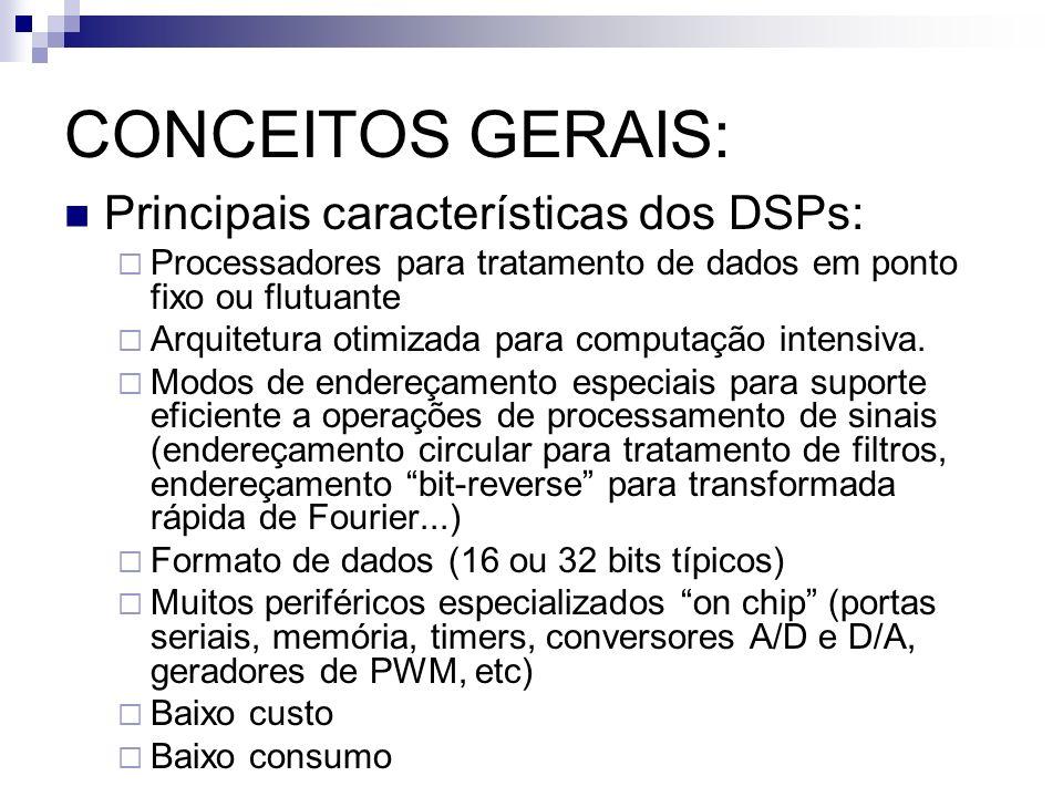 CONCEITOS GERAIS: Principais características dos DSPs: Processadores para tratamento de dados em ponto fixo ou flutuante Arquitetura otimizada para co