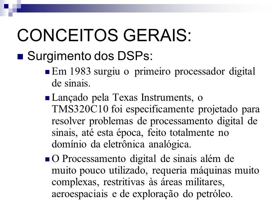 CONCEITOS GERAIS: Surgimento dos DSPs: Em 1983 surgiu o primeiro processador digital de sinais. Lançado pela Texas Instruments, o TMS320C10 foi especi