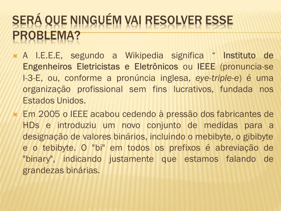 A I.E.E.E, segundo a Wikipedia significa Instituto de Engenheiros Eletricistas e Eletrônicos ou IEEE (pronuncia-se I-3-E, ou, conforme a pronúncia ing