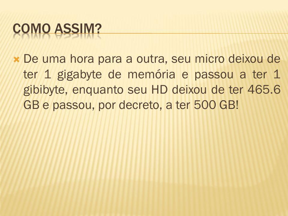 De uma hora para a outra, seu micro deixou de ter 1 gigabyte de memória e passou a ter 1 gibibyte, enquanto seu HD deixou de ter 465.6 GB e passou, po