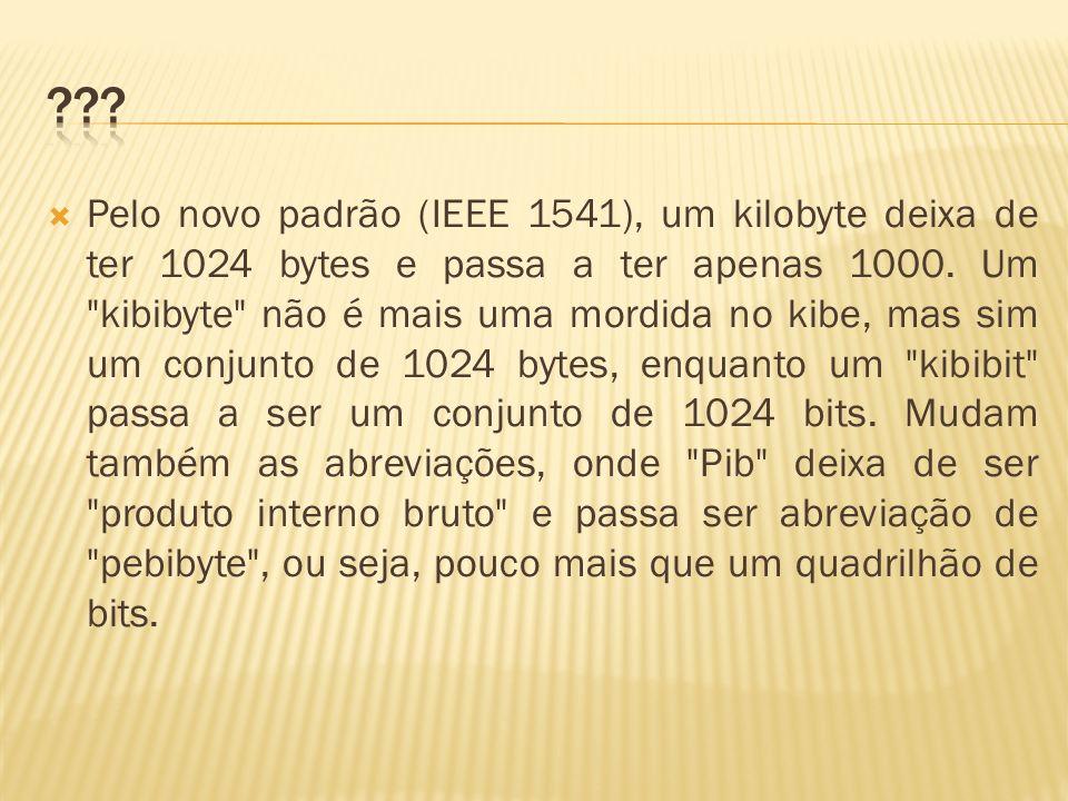 Pelo novo padrão (IEEE 1541), um kilobyte deixa de ter 1024 bytes e passa a ter apenas 1000. Um