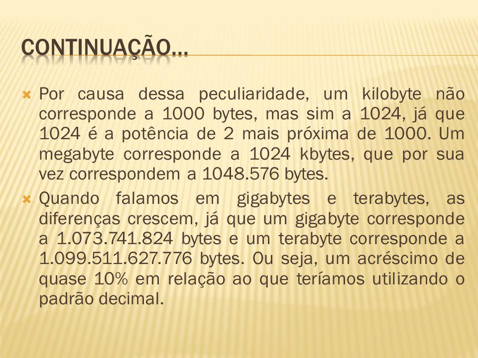 Por causa dessa peculiaridade, um kilobyte não corresponde a 1000 bytes, mas sim a 1024, já que 1024 é a potência de 2 mais próxima de 1000. Um megaby
