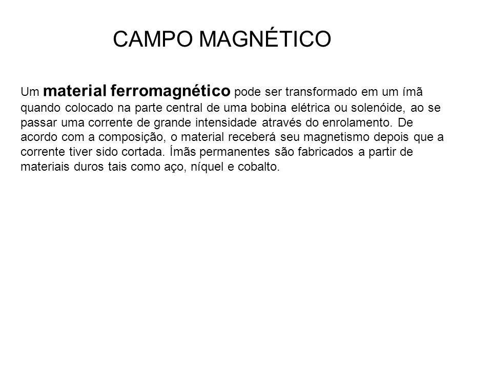 Um material ferromagnético pode ser transformado em um ímã quando colocado na parte central de uma bobina elétrica ou solenóide, ao se passar uma corr