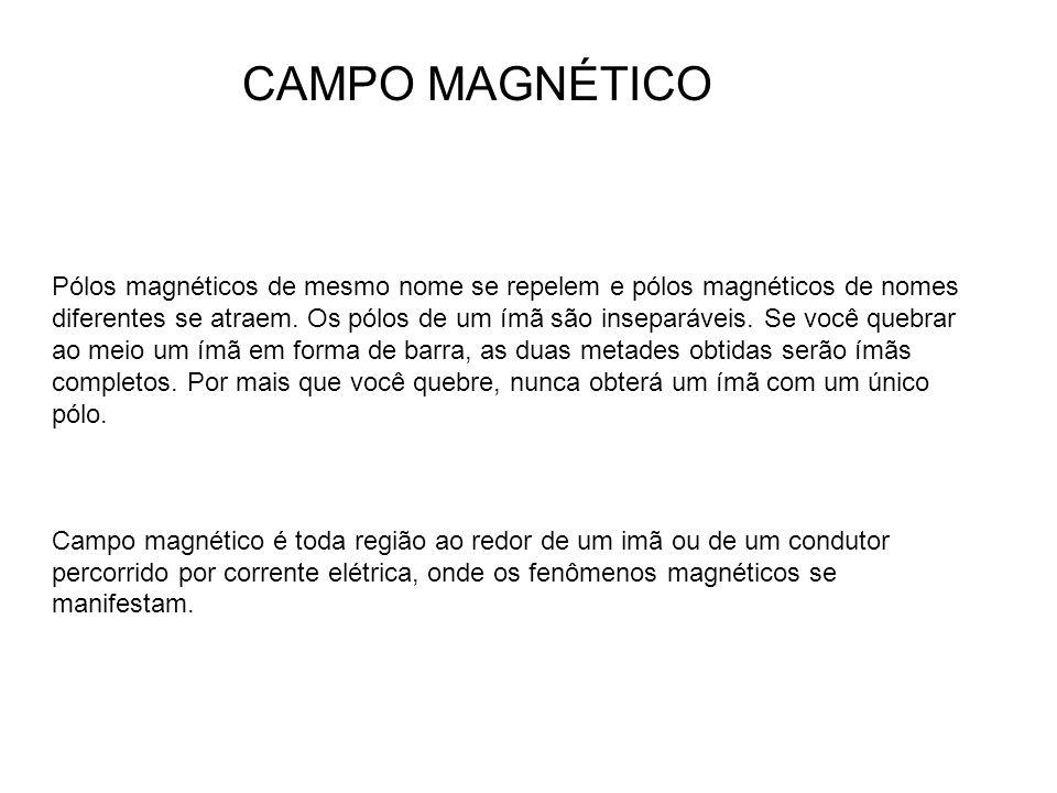 Pólos magnéticos de mesmo nome se repelem e pólos magnéticos de nomes diferentes se atraem. Os pólos de um ímã são inseparáveis. Se você quebrar ao me