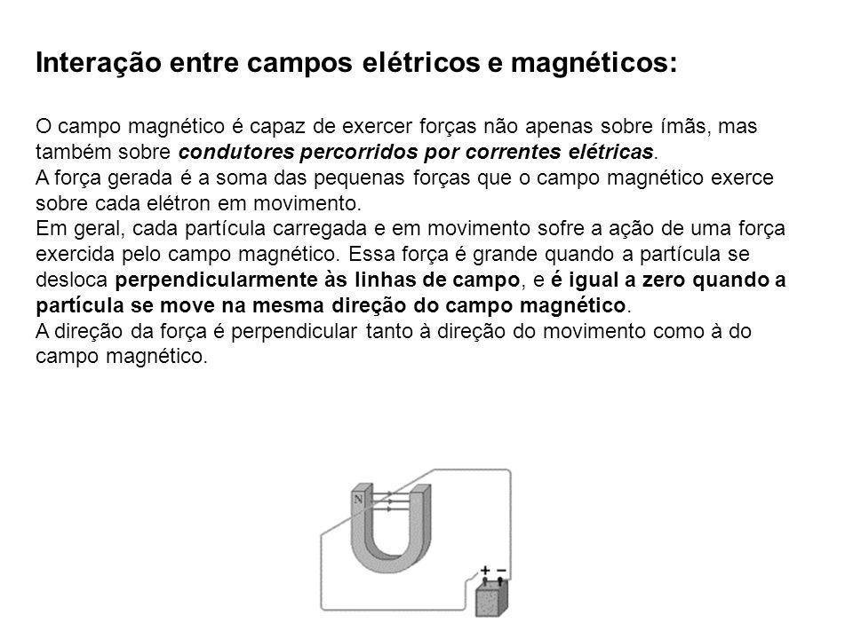 Interação entre campos elétricos e magnéticos: O campo magnético é capaz de exercer forças não apenas sobre ímãs, mas também sobre condutores percorri