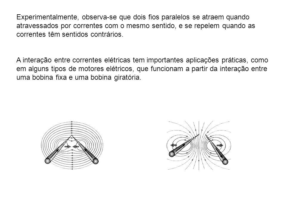 Experimentalmente, observa-se que dois fios paralelos se atraem quando atravessados por correntes com o mesmo sentido, e se repelem quando as corrente