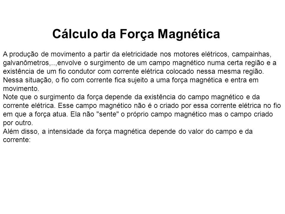 Cálculo da Força Magnética A produção de movimento a partir da eletricidade nos motores elétricos, campainhas, galvanômetros,..,envolve o surgimento d