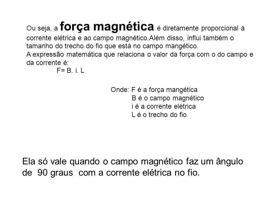 Ou seja, a força magnética é diretamente proporcional à corrente elétrica e ao campo magnético.Além disso, influi também o tamanho do trecho do fio qu