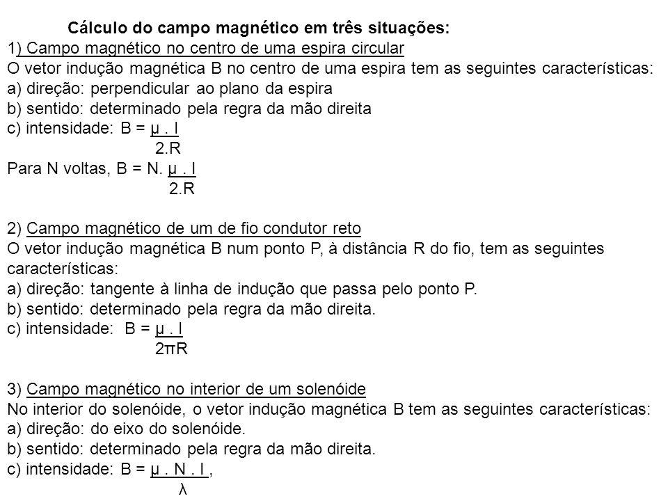 Cálculo do campo magnético em três situações: 1) Campo magnético no centro de uma espira circular O vetor indução magnética B no centro de uma espira