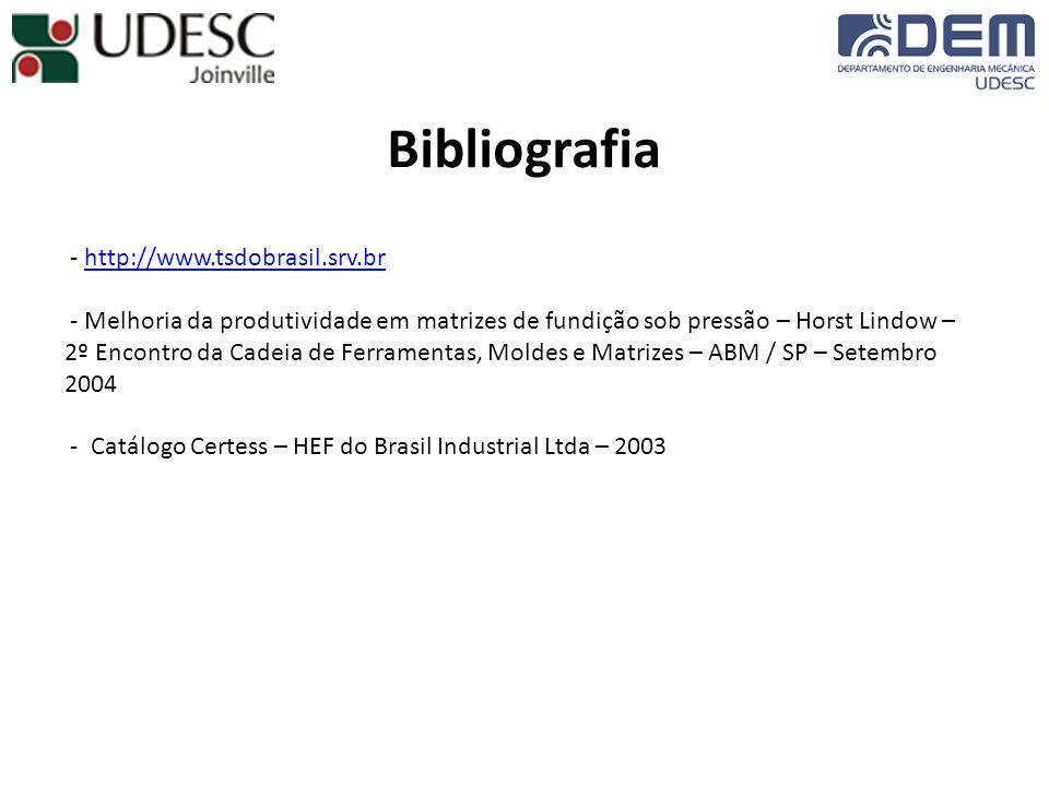 Bibliografia - http://www.tsdobrasil.srv.brhttp://www.tsdobrasil.srv.br - Melhoria da produtividade em matrizes de fundição sob pressão – Horst Lindow – 2º Encontro da Cadeia de Ferramentas, Moldes e Matrizes – ABM / SP – Setembro 2004 - Catálogo Certess – HEF do Brasil Industrial Ltda – 2003