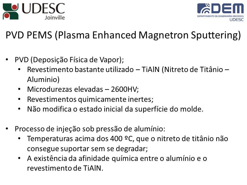 PVD PEMS (Plasma Enhanced Magnetron Sputtering) PVD (Deposição Física de Vapor); Revestimento bastante utilizado – TiAlN (Nitreto de Titânio – Aluminio) Microdurezas elevadas – 2600HV; Revestimentos quimicamente inertes; Não modifica o estado inicial da superfície do molde.