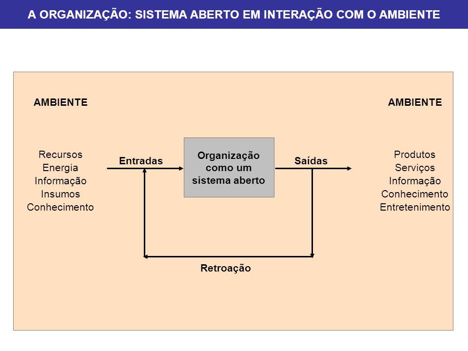 A ORGANIZAÇÃO: SISTEMA ABERTO EM INTERAÇÃO COM O AMBIENTE Organização como um sistema aberto EntradasSaídas Retroação AMBIENTE Recursos Energia Inform