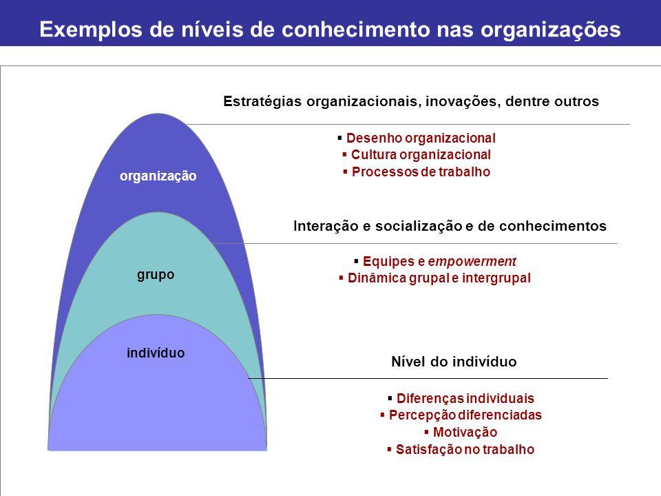 Exemplos de níveis de conhecimento nas organizações Página 11 organização grupo indivíduo Estratégias organizacionais, inovações, dentre outros Intera