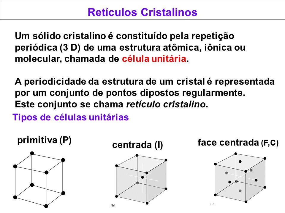 Retículos Cristalinos Um sólido cristalino é constituído pela repetição periódica (3 D) de uma estrutura atômica, iônica ou molecular, chamada de célu