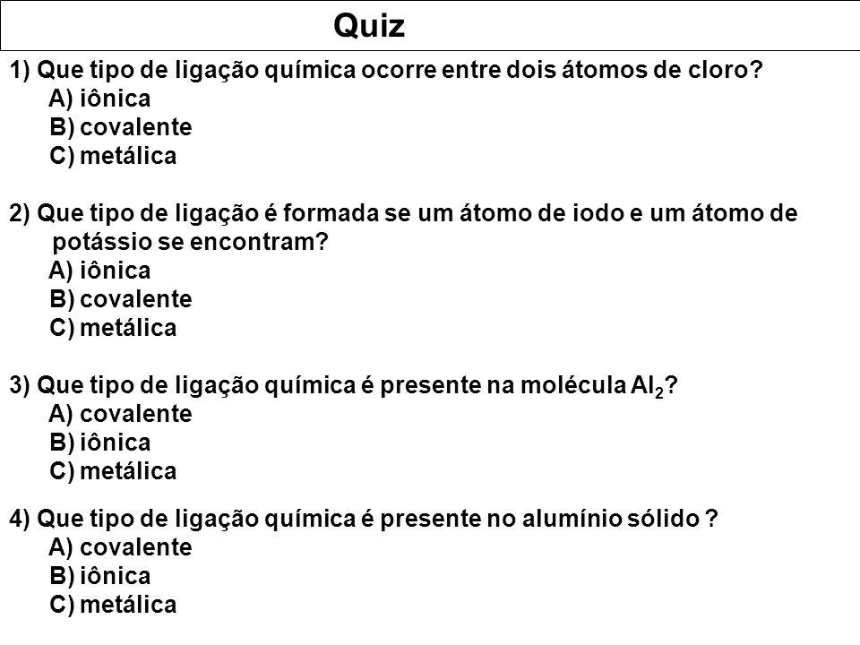 Quiz 1) Que tipo de ligação química ocorre entre dois átomos de cloro? A) iônica B) covalente C) metálica 2) Que tipo de ligação é formada se um átomo