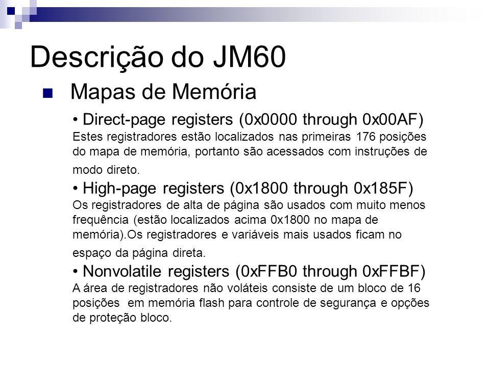 Descrição do JM60 Mapas de Memória Direct-page registers (0x0000 through 0x00AF) Estes registradores estão localizados nas primeiras 176 posições do m