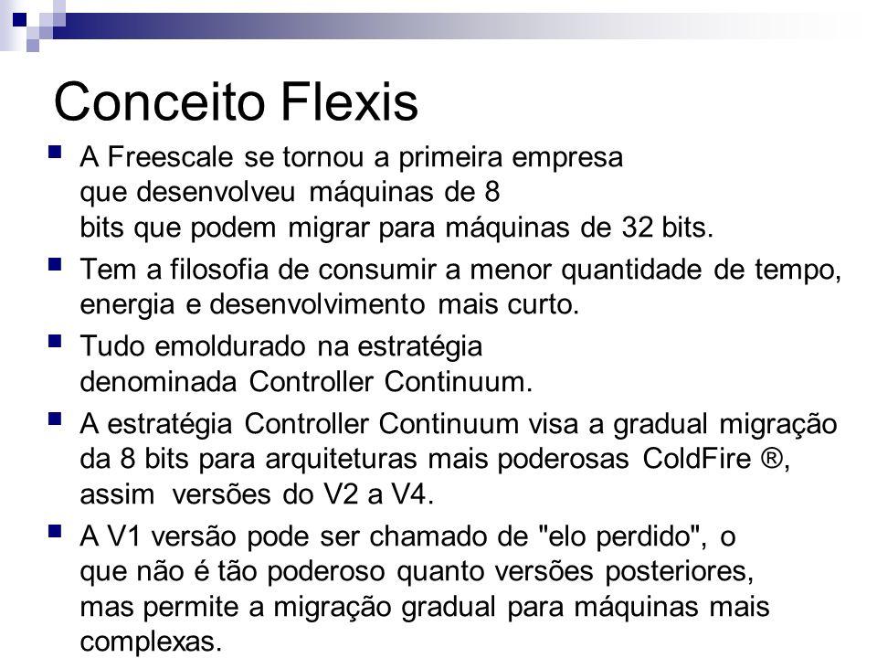 Conceito Flexis A Freescale se tornou a primeira empresa que desenvolveu máquinas de 8 bits que podem migrar para máquinas de 32 bits. Tem a filosofia