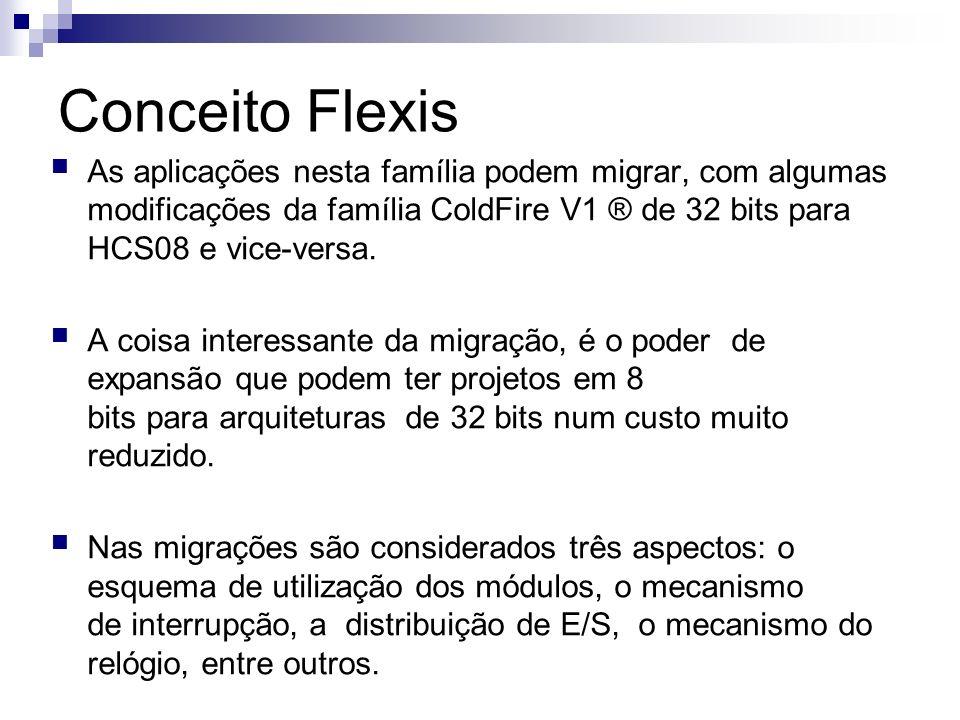Conceito Flexis As aplicações nesta família podem migrar, com algumas modificações da família ColdFire V1 ® de 32 bits para HCS08 e vice-versa. A cois