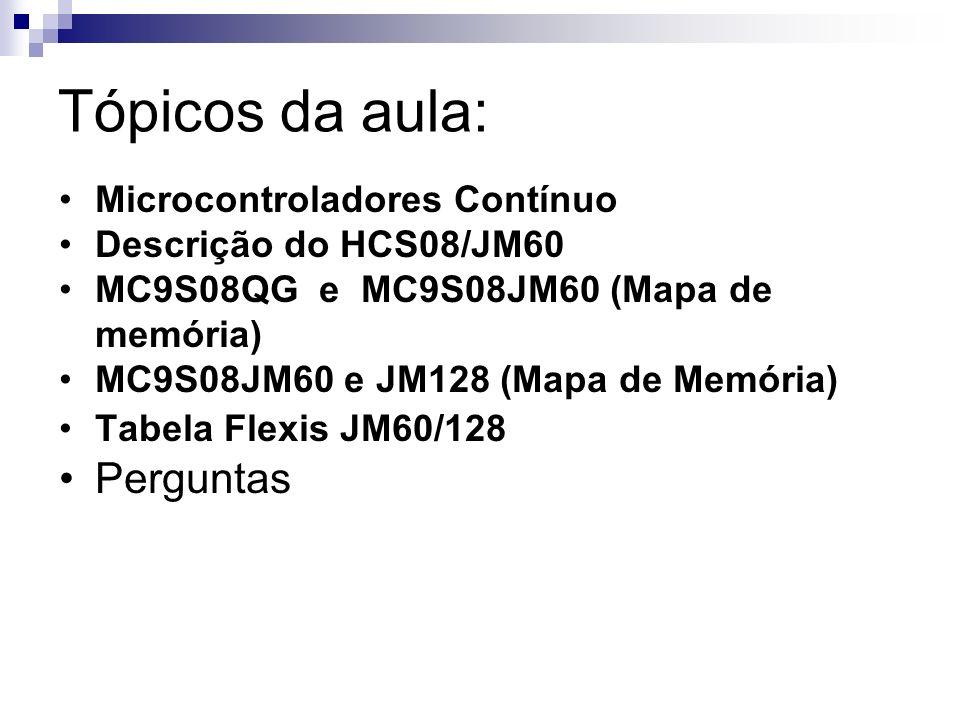 Tópicos da aula: Microcontroladores Contínuo Descrição do HCS08/JM60 MC9S08QG e MC9S08JM60 (Mapa de memória) MC9S08JM60 e JM128 (Mapa de Memória) Tabe